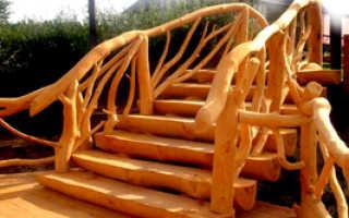 Как сделать лестницу из бревен и полубревен: рекомендации, фото