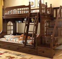 Современные двухъярусные кровати из массива дерева в интерьере детской