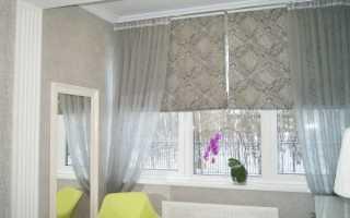 Сочетание рулонной шторы с тюлем